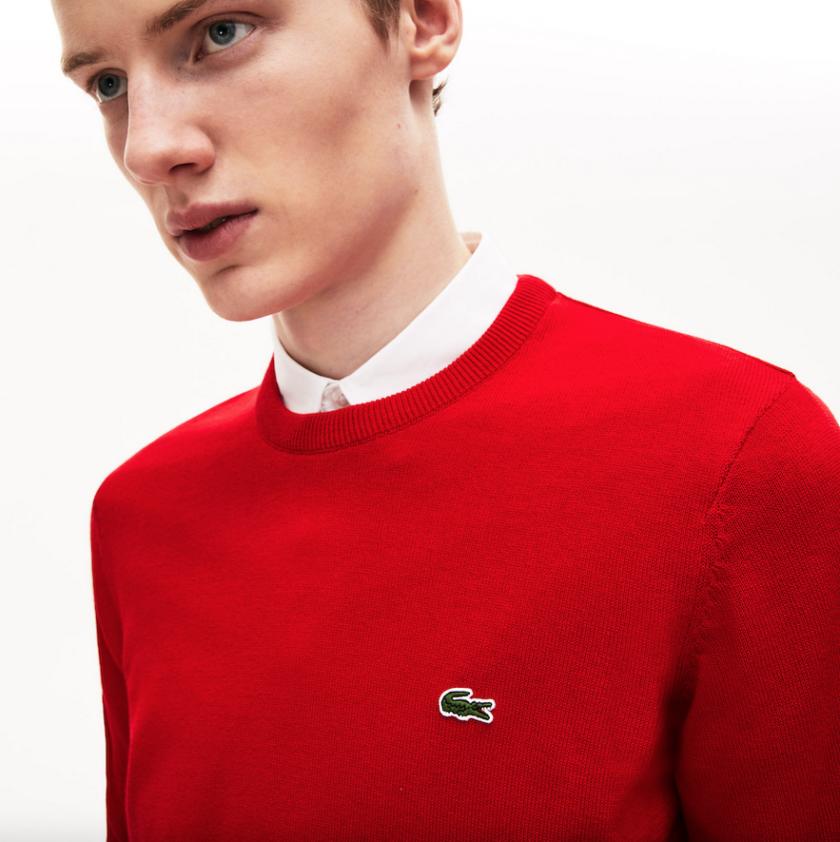 lacoste jersey cuello redondo rojo