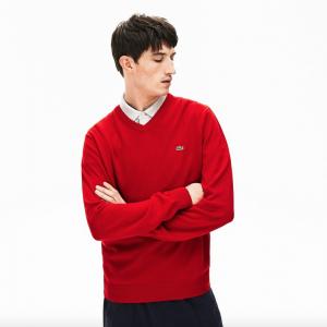 lacoste jersey cuello pico rojo rebajas zalando