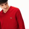 lacoste jersey cuello pico rojo