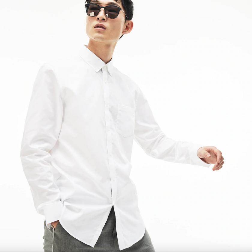 camisa lacoste minipique blanca