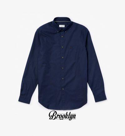 camisa lacoste minipique azul marino