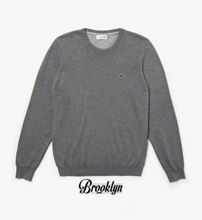lacoste jersey cuello redondo gris rebajas zalando