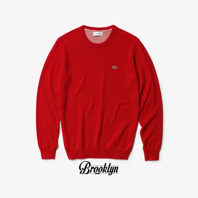 lacoste jersey cuello redondo rojo rebajas zalando