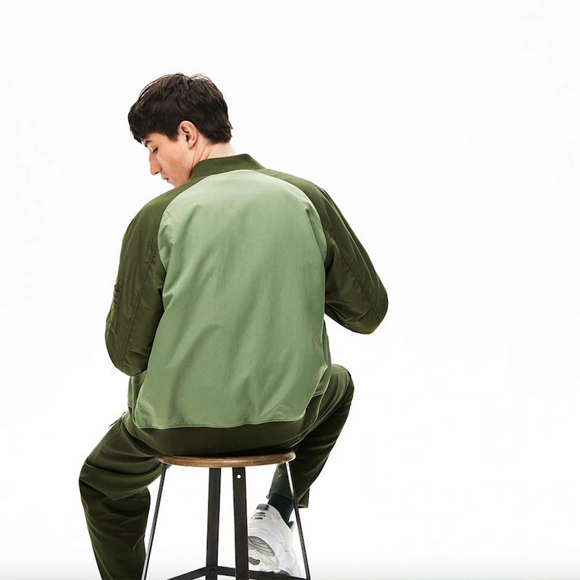 Lacoste chaqueta reversibe verde kaki rebajas